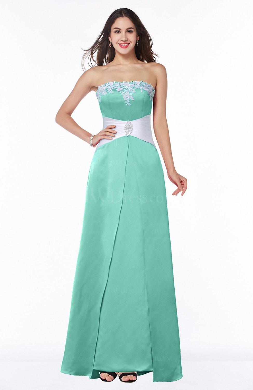 Mint Green Elegant A-line Strapless Zipper Satin Sash Plus Size ...