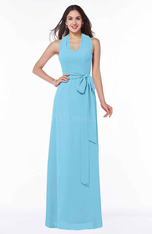 Light Blue Plain A-line Halter Sleeveless Ribbon Plus Size Bridesmaid  Dresses
