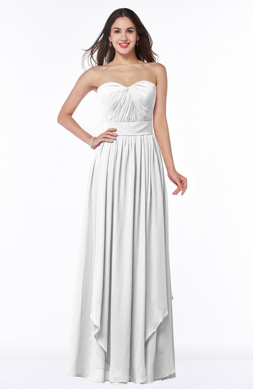 White Modern A-line Sweetheart Sleeveless Floor Length Ruching Plus ...