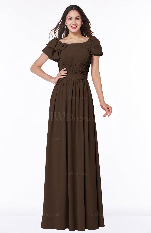 054b2019 Copper Elegant Scoop Short Sleeve Zip up Chiffon Plus Size Bridesmaid  Dresses (Style D47050)