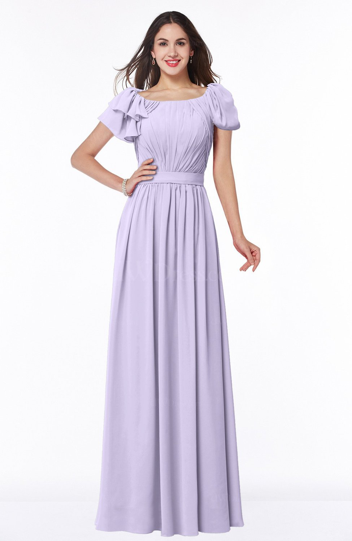 Light Purple Elegant Scoop Short Sleeve Zip up Chiffon Plus Size Bridesmaid  Dresses