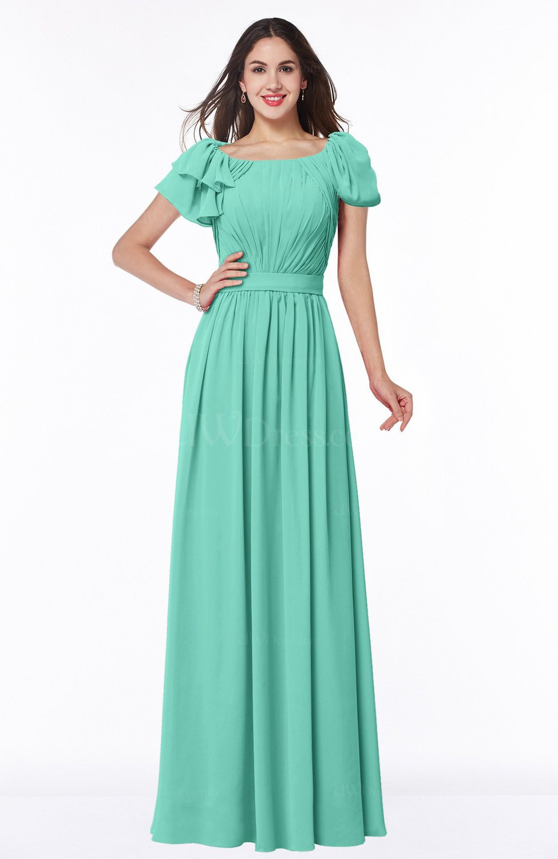 Mint Green Elegant Scoop Short Sleeve Zip up Chiffon Plus Size Bridesmaid  Dresses