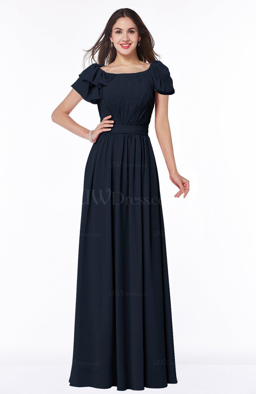 Navy Blue Elegant Scoop Short Sleeve Zip up Chiffon Plus Size Bridesmaid  Dresses