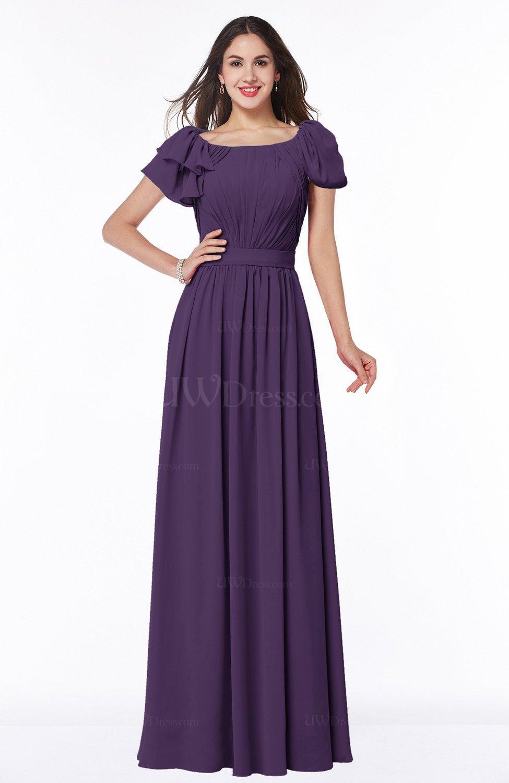 Violet Elegant Scoop Short Sleeve Zip up Chiffon Plus Size ...