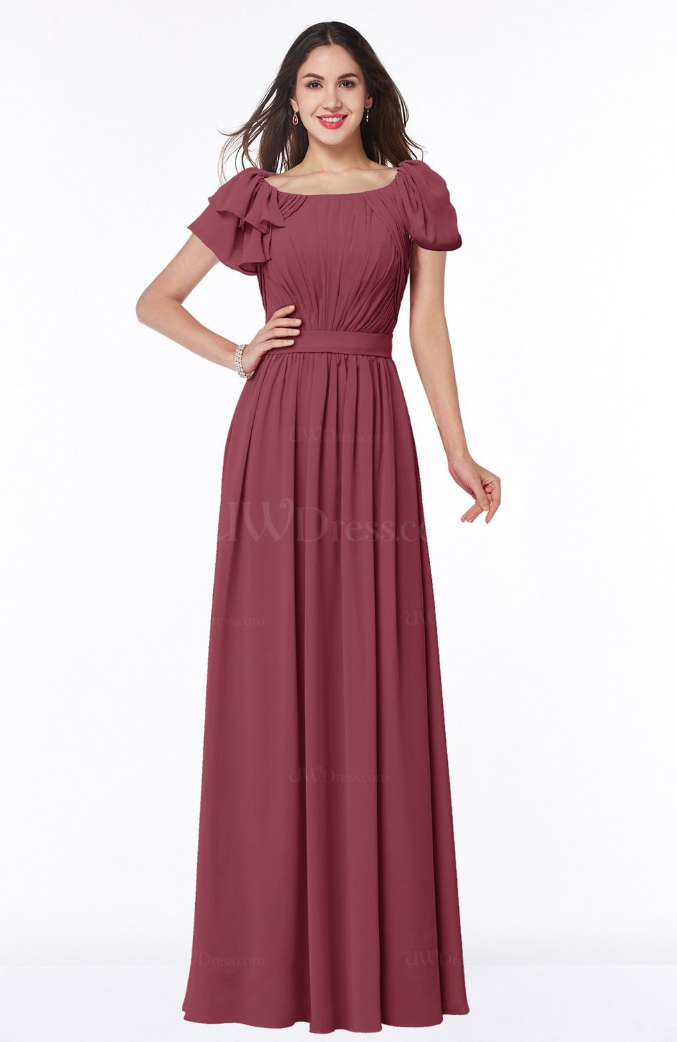1f30271aabd Wine Elegant Scoop Short Sleeve Zip up Chiffon Plus Size Bridesmaid Dresses  (Style D47050)