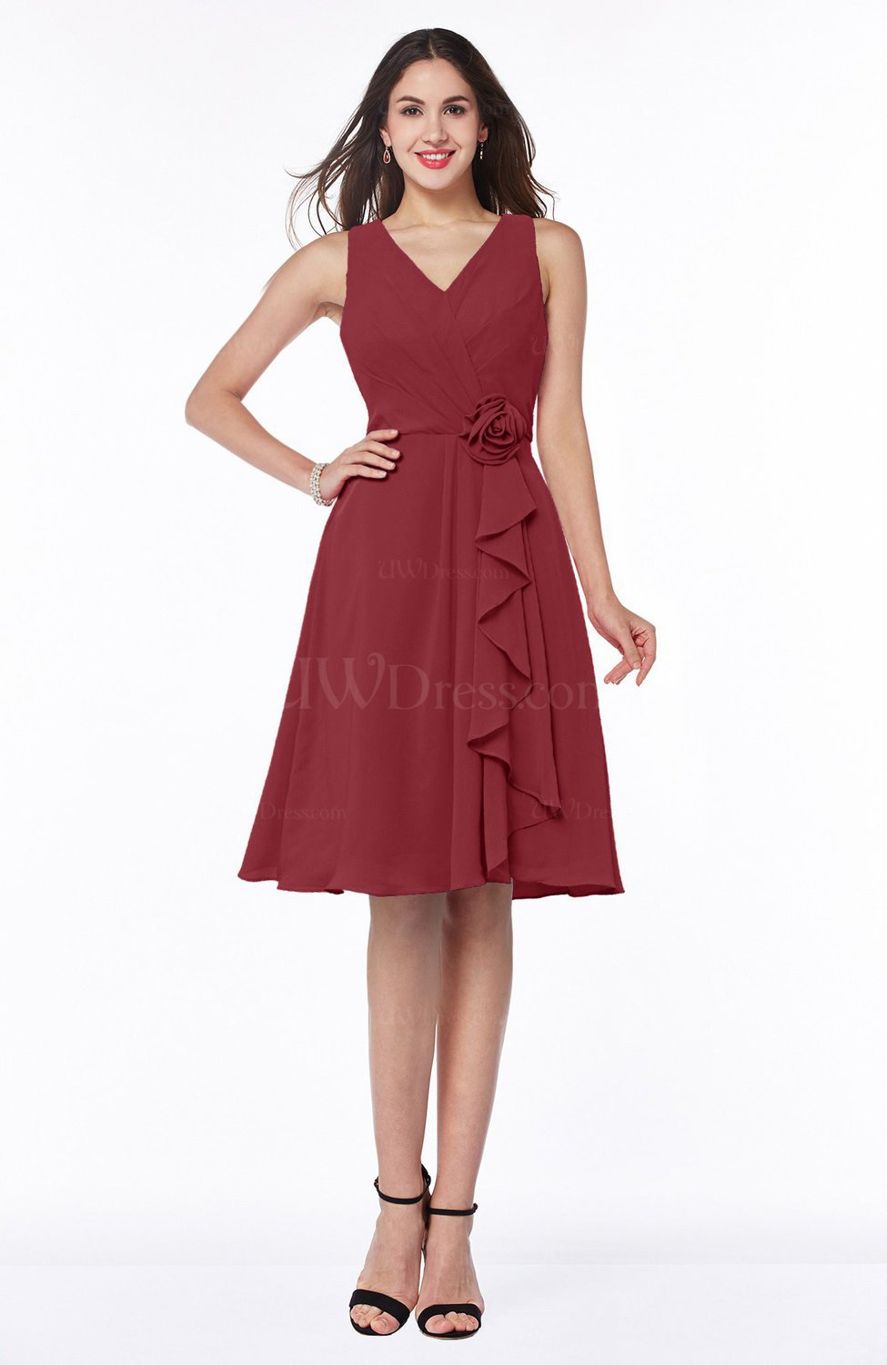 a097feff166 Dark Red Casual A-line V-neck Zip up Fringe Plus Size Bridesmaid Dresses ( Style D76986)