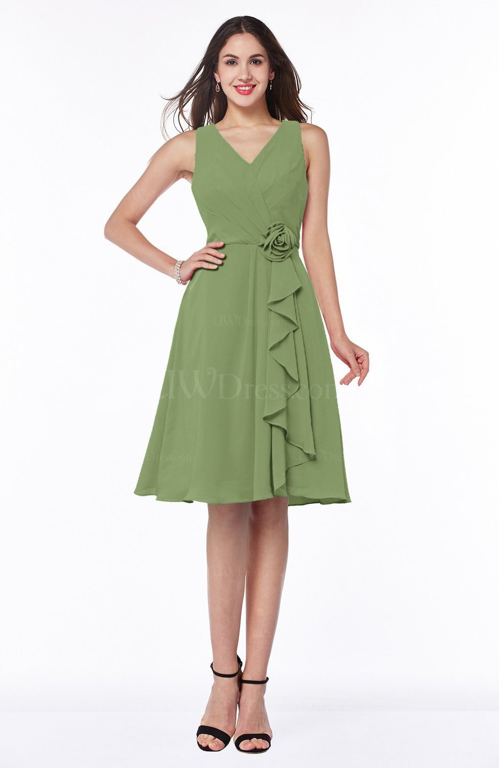 Moss Green Casual A-line V-neck Zip up Fringe Plus Size Bridesmaid Dresses