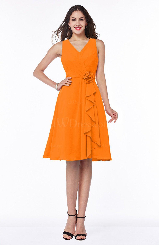 Orange Casual A-line V-neck Zip up Fringe Plus Size Bridesmaid Dresses