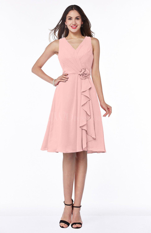 Pastel Pink Casual A-line V-neck Zip up Fringe Plus Size Bridesmaid Dresses