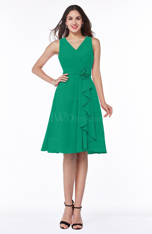 Pepper Green Casual A-line V-neck Zip up Fringe Plus Size Bridesmaid Dresses