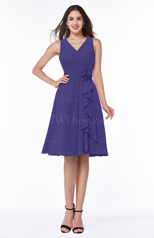 Royal Purple Casual A-line V-neck Zip up Fringe Plus Size Bridesmaid ...