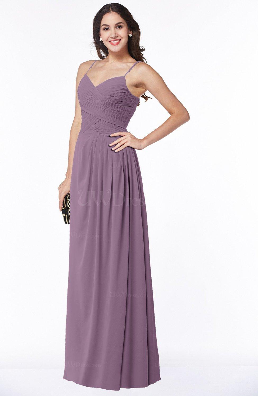 91bf2d61cf85 Mauve Romantic Spaghetti Sleeveless Zipper Floor Length Ruching Plus Size  Bridesmaid Dresses (Style D99036)