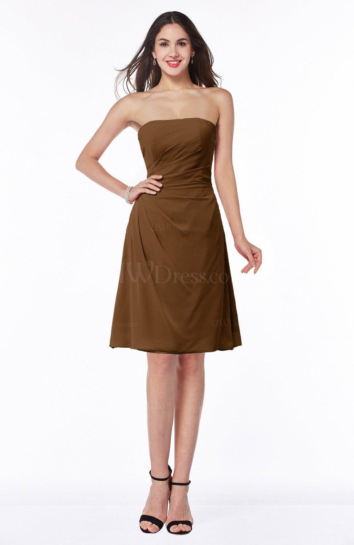 Brown Gorgeous A-line Strapless Zipper Knee Length Plus Size Bridesmaid  Dresses