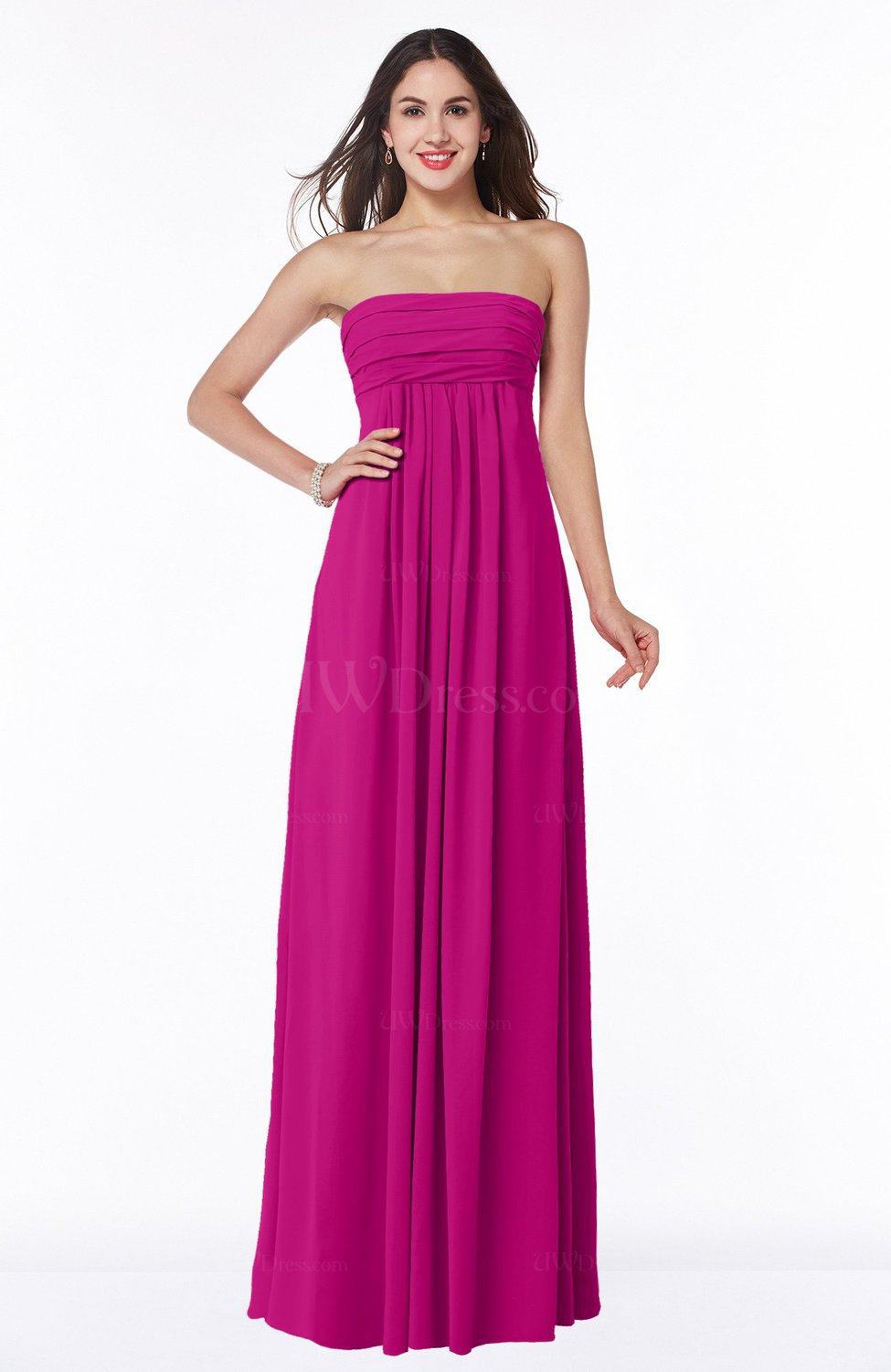 25d29e1f3ae Hot Pink Modern Empire Strapless Zip up Chiffon Floor Length Plus Size  Bridesmaid Dresses (Style D45460)