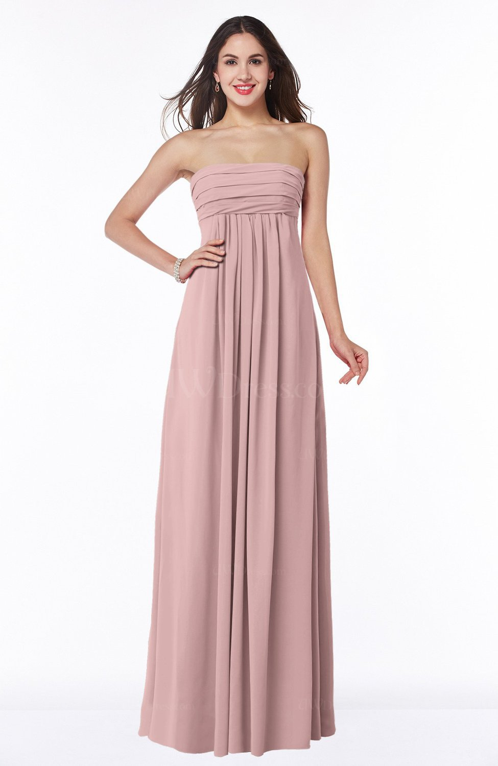 Silver Pink Modern Empire Strapless Zip up Chiffon Floor Length Plus Size  Bridesmaid Dresses
