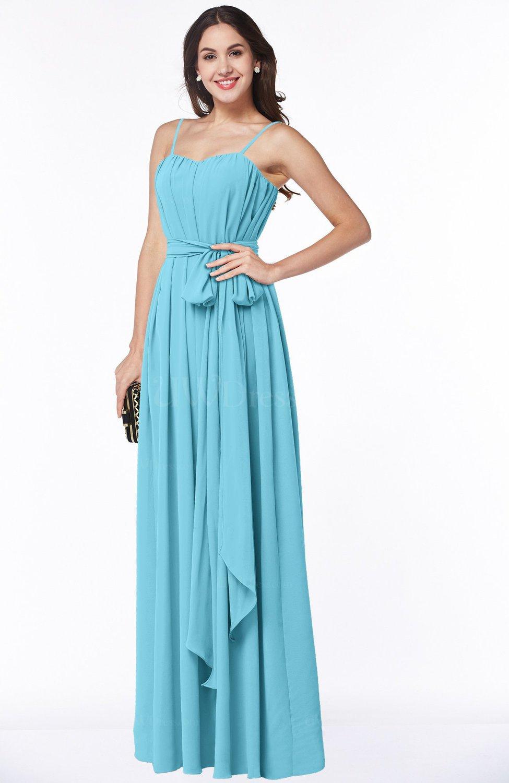 a1754cc6996d7 Light Blue Glamorous A-line Spaghetti Chiffon Floor Length Plus Size  Bridesmaid Dresses (Style D15642)