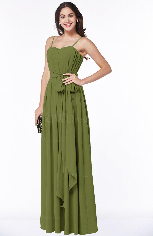 Olive Green Glamorous A-line Spaghetti Chiffon Floor Length Plus Size  Bridesmaid Dresses