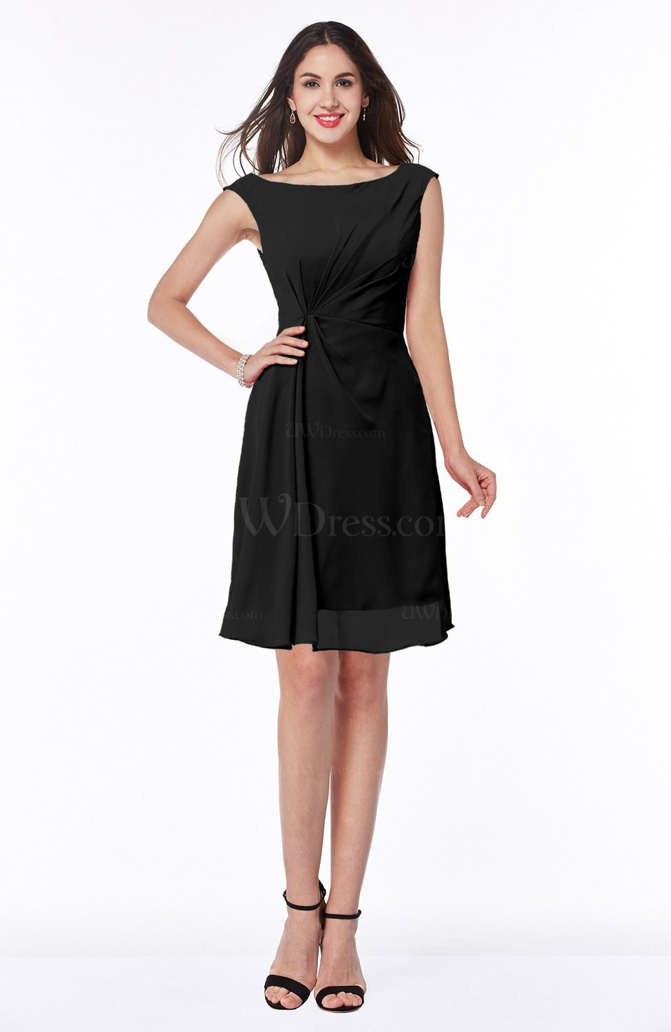 b230506506ee Black Glamorous Bateau Half Backless Chiffon Knee Length Ruching Plus Size  Bridesmaid Dresses (Style D35798)
