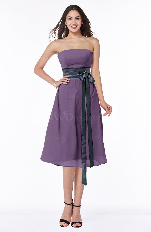 58f897d9ed Eggplant Romantic A-line Strapless Sleeveless Tea Length Plus Size Bridesmaid  Dresses (Style D47308)