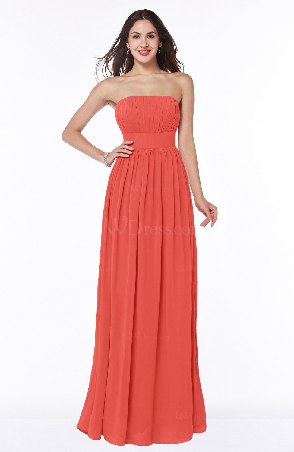Living Coral Elegant A-line Sleeveless Floor Length Ruching Plus ...