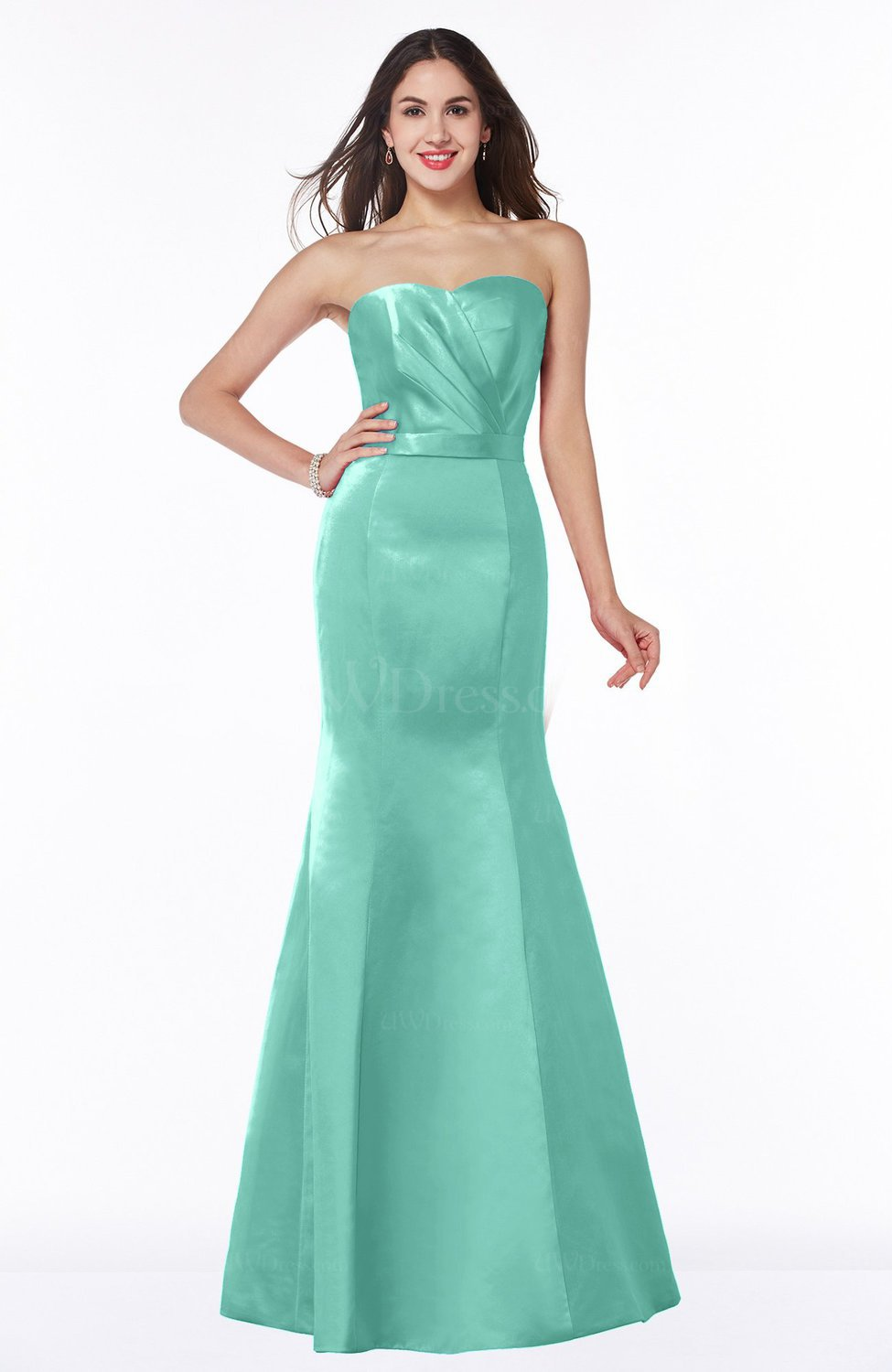 d5dc7891296 Mint Green Glamorous Sweetheart Sleeveless Half Backless Floor Length  Ruching Bridesmaid Dresses (Style D21414)