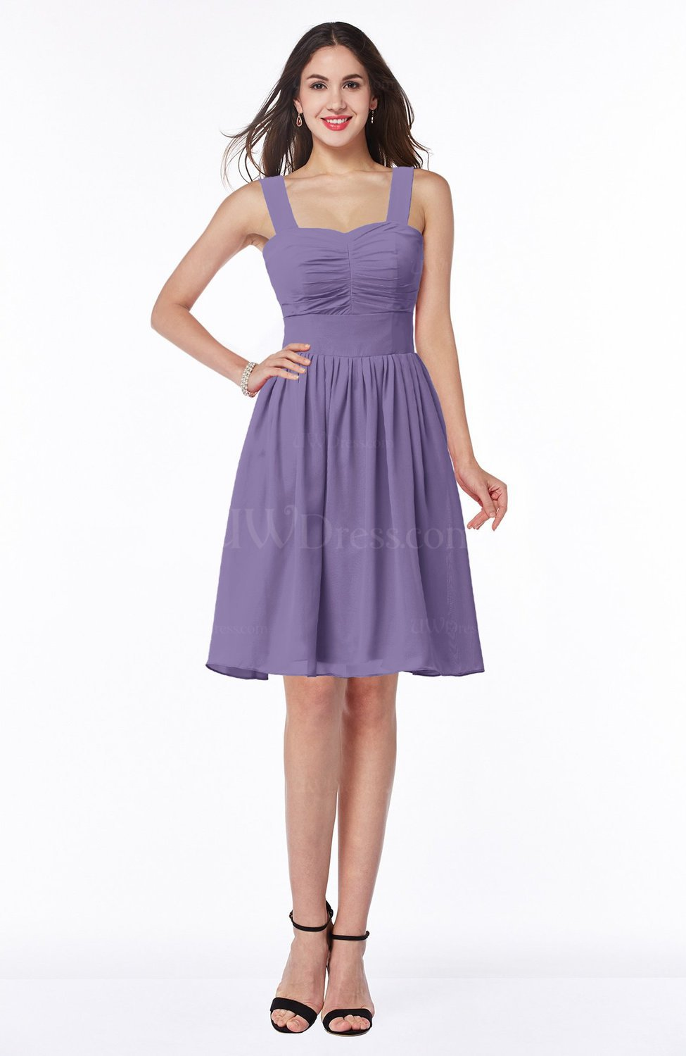 8ce79035e5a Chalk Violet Traditional Sleeveless Zipper Chiffon Knee Length Pleated  Bridesmaid Dresses (Style D50369)