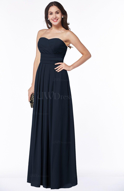 Navy Blue Simple A-line Sleeveless Chiffon Floor Length Plus Size  Bridesmaid Dresses