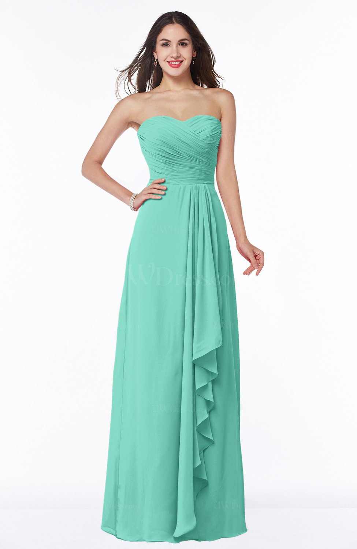 Mint Green Modern Sweetheart Sleeveless Floor Length Ruching Plus Size  Bridesmaid Dresses