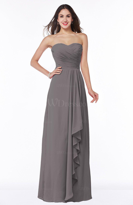 7078b8f43092 Ridge Grey Modern Sweetheart Sleeveless Floor Length Ruching Plus Size Bridesmaid  Dresses (Style D75298)