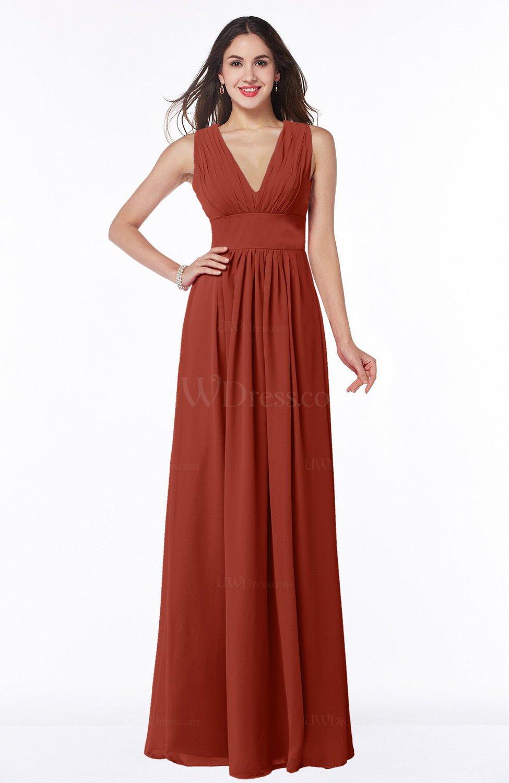 537454c6578 Rust Modest Sleeveless Zipper Chiffon Floor Length Ruching Plus Size Bridesmaid  Dresses (Style D59415)