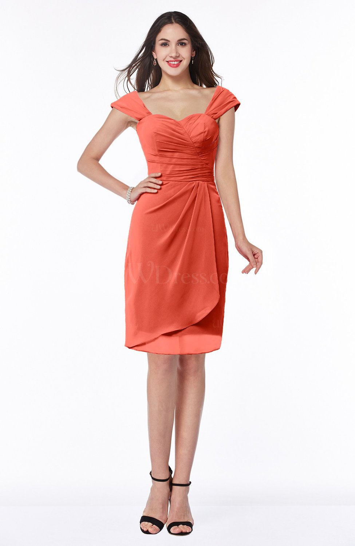 261b113d38 Living Coral Romantic Sheath Sweetheart Chiffon Knee Length Ruching Plus  Size Bridesmaid Dresses