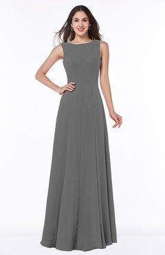 152365c8adb Grey Classic A-line Bateau Sleeveless Zipper Plus Size Bridesmaid Dresses
