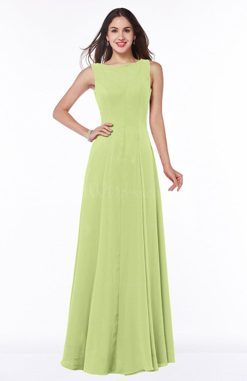Lime Green Classic A-line Bateau Sleeveless Zipper Plus Size Bridesmaid  Dresses