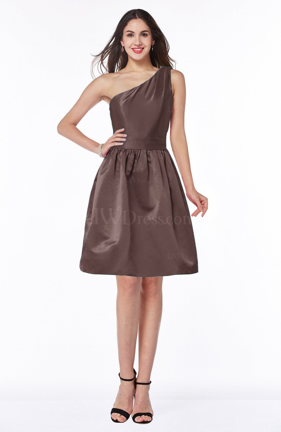 Chocolate Brown Plain Baby Doll Half Backless Satin Ruching ...