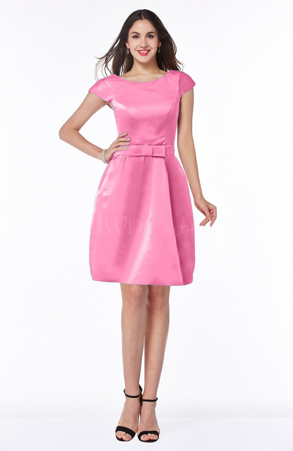 Carnation Pink Modest Baby Doll Scoop Zip up Bow Plus Size Bridesmaid  Dresses