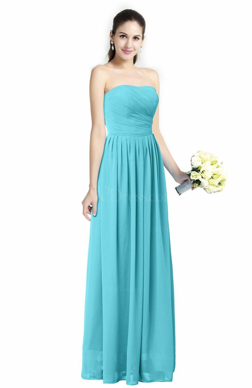 Turquoise Modern A-line Strapless Zipper Floor Length Plus Size Bridesmaid  Dresses