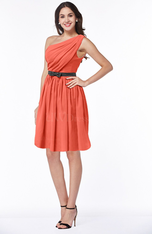Living Coral Modern Zipper Chiffon Knee Length Sash Plus Size Bridesmaid  Dresses