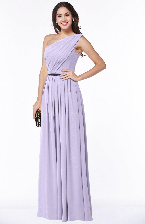 Light Purple Traditional Asymmetric Neckline Sleeveless Zip up Chiffon  Floor Length Plus Size Bridesmaid Dresses