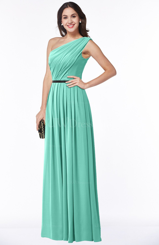 Mint Green Traditional Asymmetric Neckline Sleeveless Zip up Chiffon Floor  Length Plus Size Bridesmaid Dresses