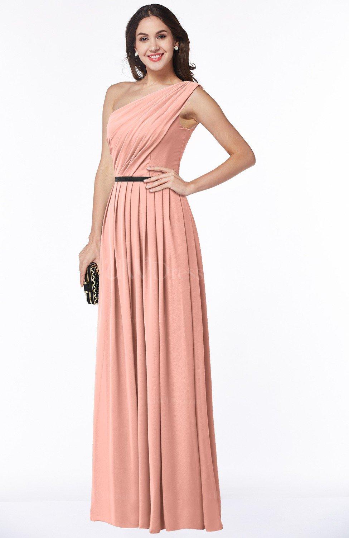 f273dd34475 Traditional Asymmetric Neckline Sleeveless Zip up Chiffon Floor Length Plus  Size Bridesmaid Dresses
