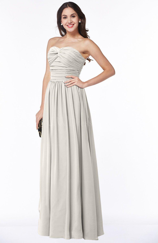 Off White Classic Sleeveless Zipper Floor Length Ruching Plus Size  Bridesmaid Dresses