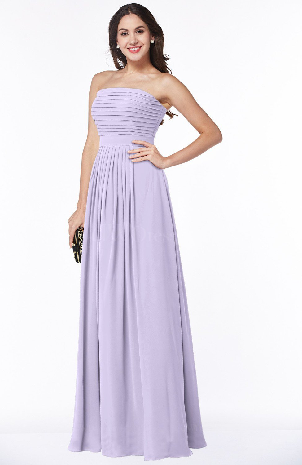 Pastel Lilac Modest A-line Sleeveless Chiffon Floor Length Ruching Plus  Size Bridesmaid Dresses