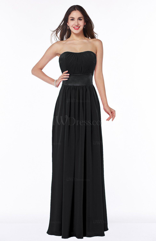 Black Traditional Strapless Sleeveless Chiffon Floor Length Sash ...