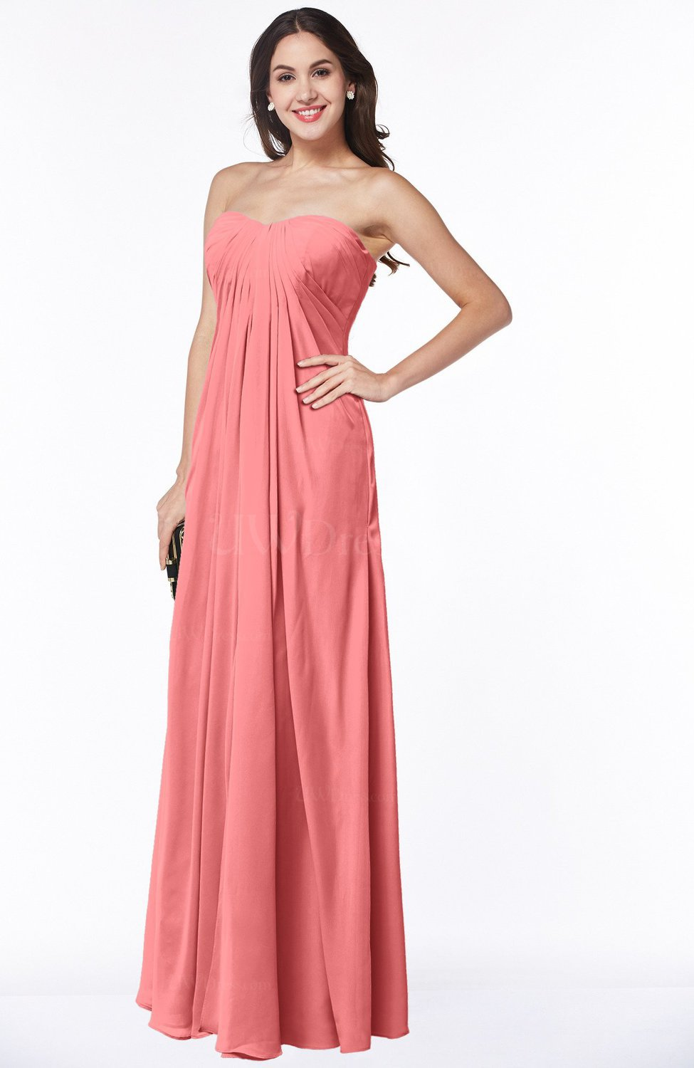 Coral Elegant Empire Sweetheart Zip up Chiffon Floor Length Plus ...