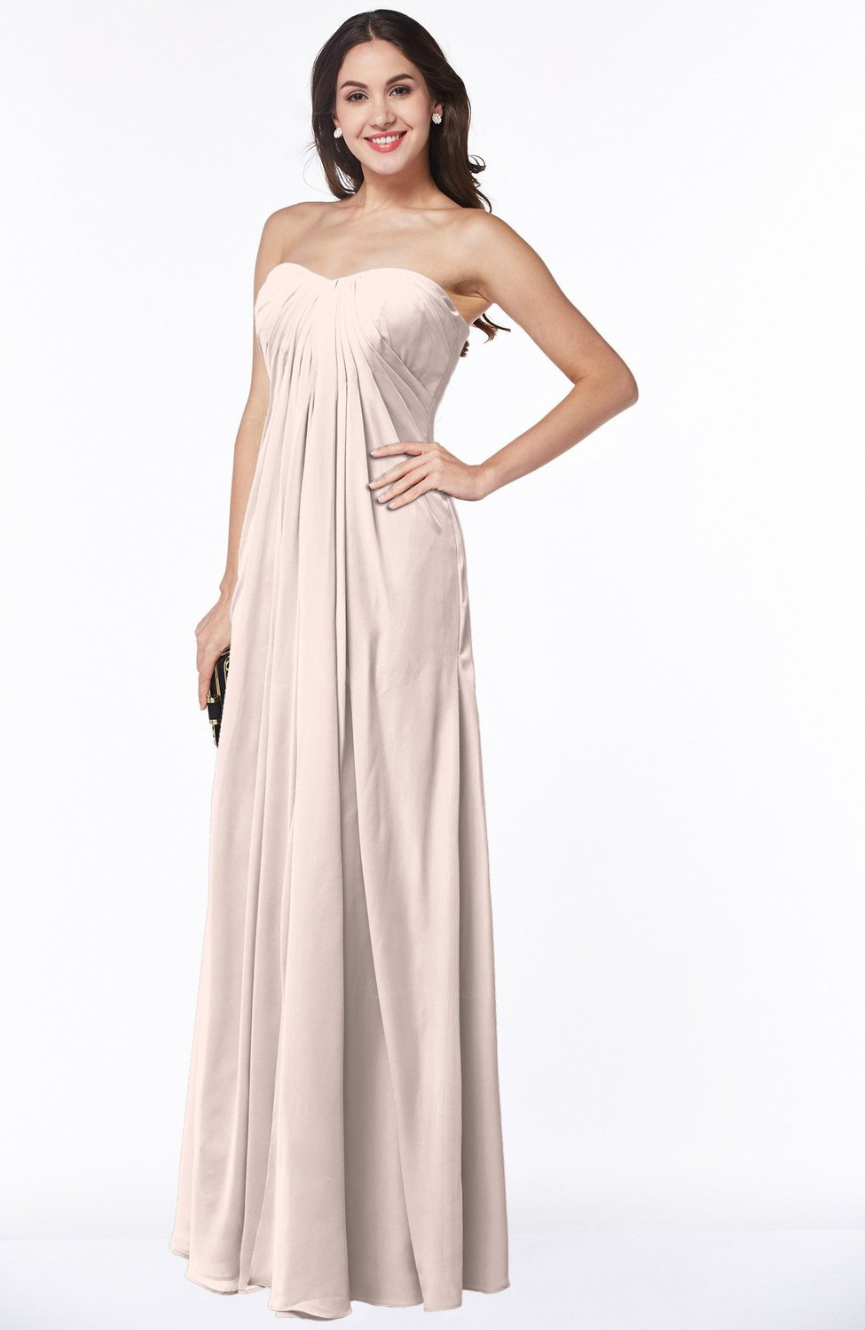 Silver Peony Elegant Empire Sweetheart Zip up Chiffon Floor Length Plus  Size Bridesmaid Dresses