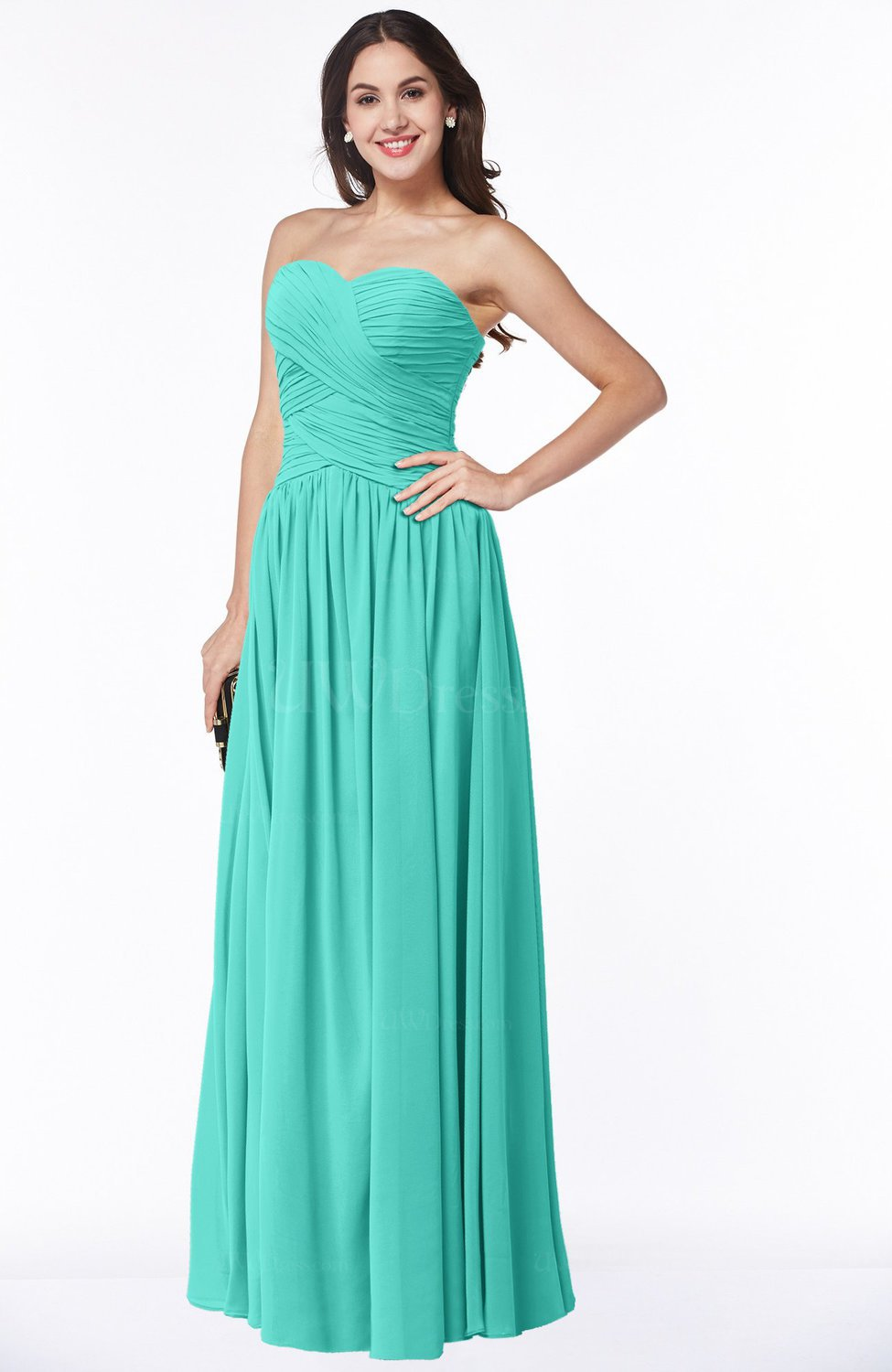 Blue Turquoise Traditional A-line Sweetheart Sleeveless Floor Length Plus  Size Bridesmaid Dresses