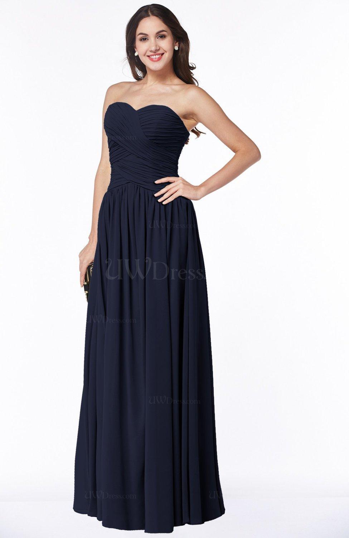 Peacoat Traditional A-line Sweetheart Sleeveless Floor Length Plus Size  Bridesmaid Dresses