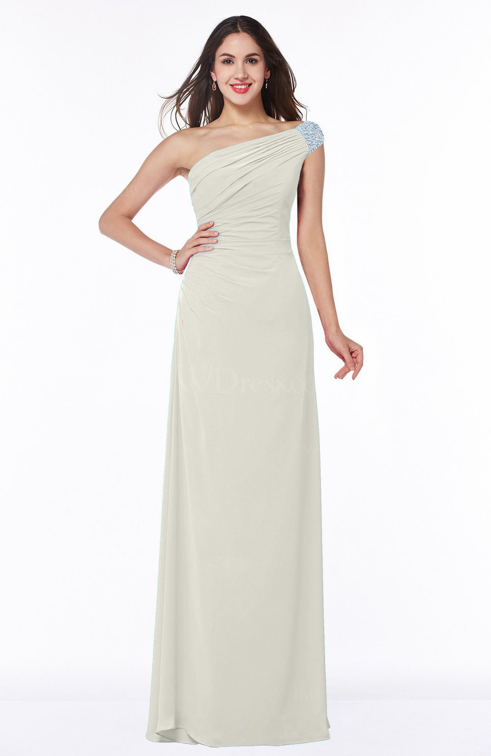 Cream Simple A-line Asymmetric Neckline Sleeveless Half Backless Floor  Length Plus Size Bridesmaid Dresses