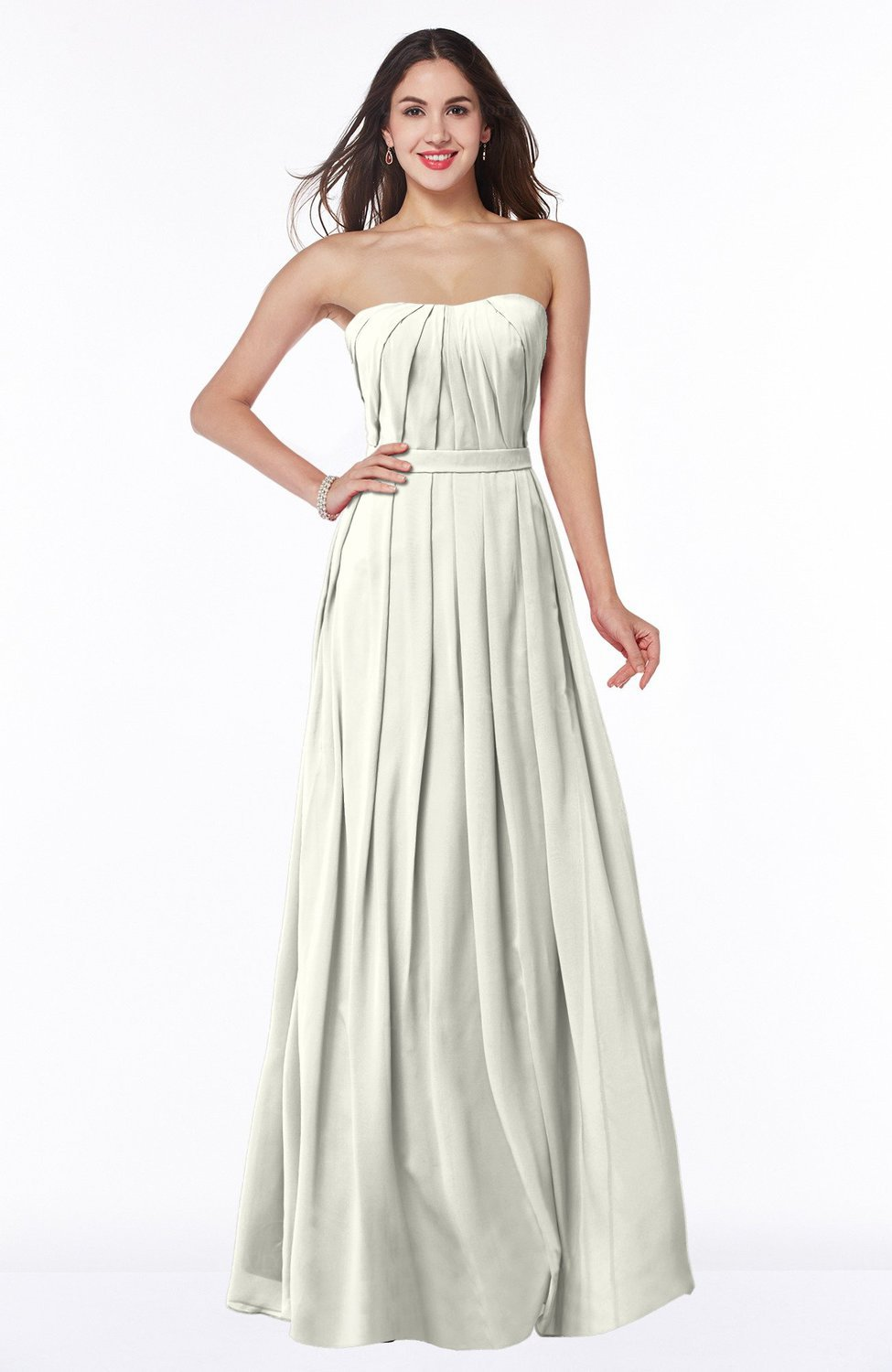 Simple Plus Size Wedding Dresses.Ivory Simple Strapless Sleeveless Zip Up Chiffon Ruching Plus Size Bridesmaid Dresses