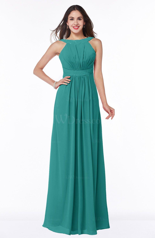 Emerald Green Modest A-line Sleeveless Zip up Chiffon Sash Plus Size  Bridesmaid Dresses (Style D49978) fcd6a219b